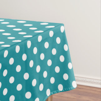 Moonstone blue and white polks dots tablecloth