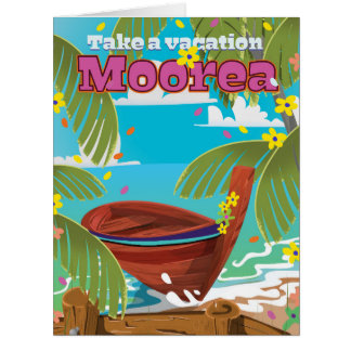 Moorea French Polynesia Holiday travel poster Card