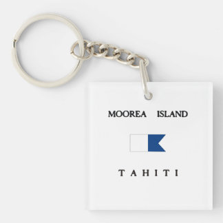 Moorea Island Tahiti Alpha Dive Flag Key Ring