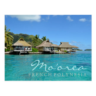 Moorea on French Polynesia with luxury bungalows Postcard