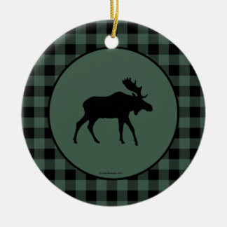 Moose Green Black Plaid Border Christmas Ornament