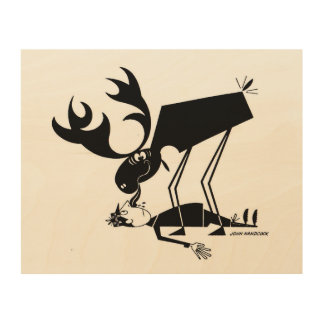 Moose kisses! wood prints