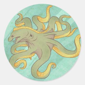 Moray Eel Octopus Classic Round Sticker
