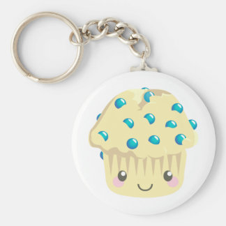 More Kawaii Muffin Faces Basic Round Button Key Ring
