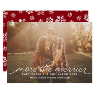 More the Merrier Pregnancy Christmas Card 13 Cm X 18 Cm Invitation Card