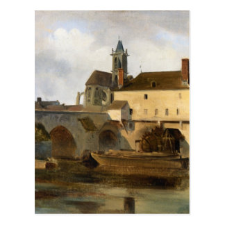Moret sur Loing, the Bridge and the Church Postcard