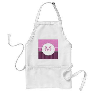 Morgan monogram chevron and stripes pink black standard apron