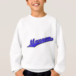 Morgan script logo in blue sweatshirt