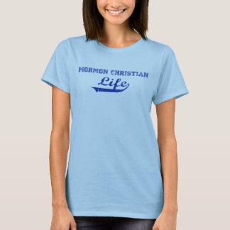 Mormon Christian Life, Blue on Blue Ladies T-Shirt