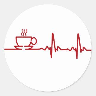 Morning Coffee Heartbeat EKG Round Sticker