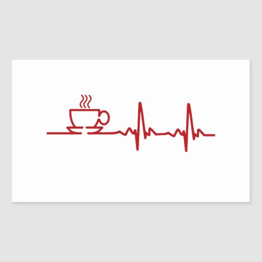 Morning Coffee Heartbeat EKG Rectangle Stickers