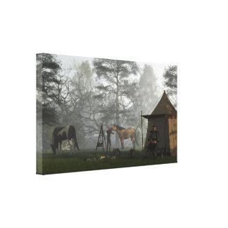 Morning in the Knights Camp Stretched Canvas Print