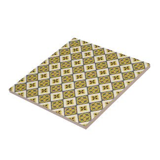 Moroccan Floral Tile Pattern Yellow Grey Black