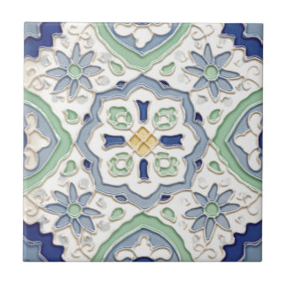 Moroccan Green and Blue Print Small Square Tile