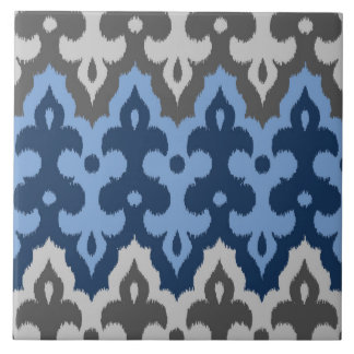 Moroccan Ikat Damask, Blue and Gray / Grey Large Square Tile