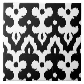 Moroccan Ikat Damask Pattern, Black and White Large Square Tile