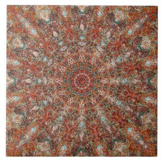 Moroccan mandala pattern in terracotta tones large square tile