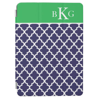 Moroccan Pattern Custom Monogram Navy Kelly Green iPad Air Cover