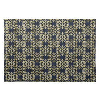 Moroccan Print flourish navy blue gold Placemat