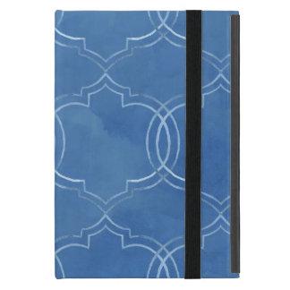 Moroccan Quatrefoil Tile Blue Pattern Watercolor iPad Mini Cover