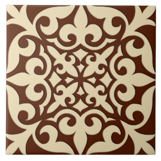 Moroccan tile - chocolate brown and beige