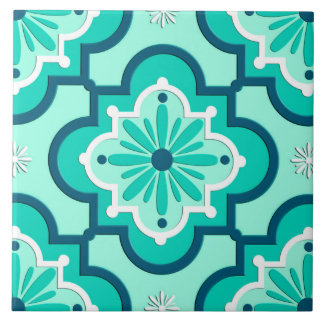 Moroccan Tile Pattern, Aqua and Turquoise