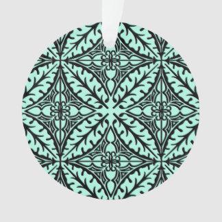 Moroccan tiles - aqua blue and black ornament