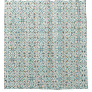 Moroccan Tiles Blue & Rust & Beige bath Shower Curtain