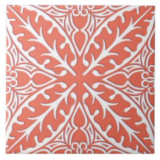 Moroccan tiles - coral orange and white