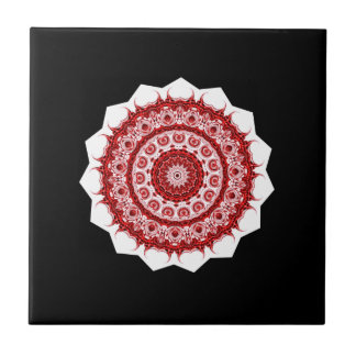 Moroccan Vintage Red and White tile STAR design