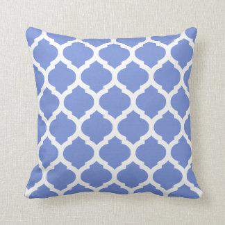 Moroccan white blue throw pillow