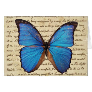 Morpho Butterfly on Vintage Handwriting Note Note Card