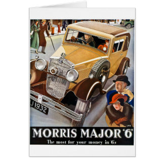 Morris Major 6 - Vintage British Auto Advert Greeting Card