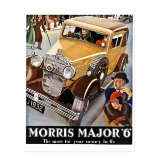 Morris Major 6 - Vintage British Auto Advert Postcard