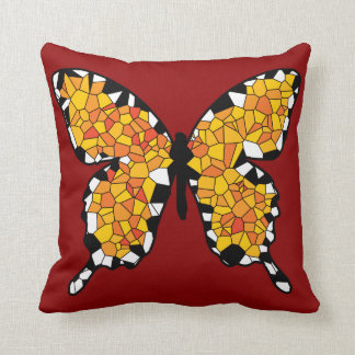 Mosaic Orange, White and Black Butterfly Cushions