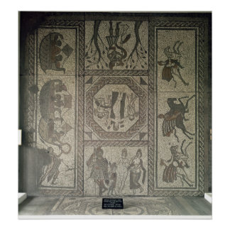 Mosaic pavement from the Roman villa at Low Poster