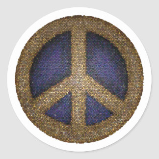 Mosaic Peace Sign in Golds and Blues Stickers