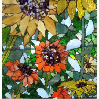 Mosaic Sunflower Photo Sculpture Badge