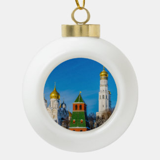 Moscow Kremlin cathedrals Ceramic Ball Christmas Ornament