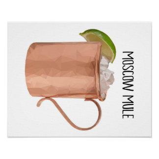 Moscow Mule Low Poly Geometric Modern Art Poster