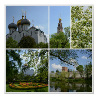 Moscow Novodevichy Monastery Collage Poster