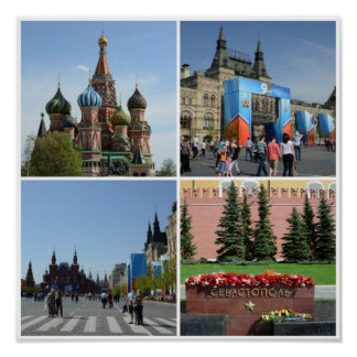 Moscow Red Square Collage Poster