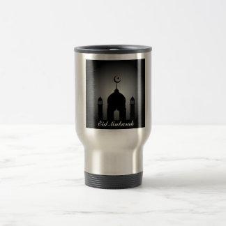 Mosque dome and minaret silhouette travel mug