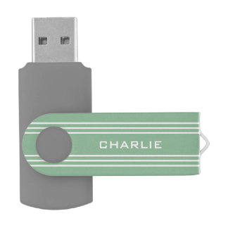 Moss Green Stripes custom monogram USB drives