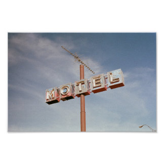 Motel sign with antenna poster