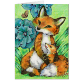 Mother and Baby Fox cute animal Greeting Card