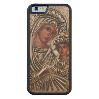 Mother and Child Icon, Madonna and Jesus in silver Carved Maple iPhone 6 Bumper Case