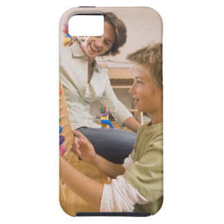 Mother and son using abacus iPhone 5 covers