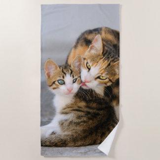 Mother Cat Loves Cute Baby Kitten Animal Pet Photo Beach Towel