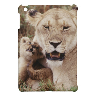 Mother lion sitting with her cub iPad mini cover
